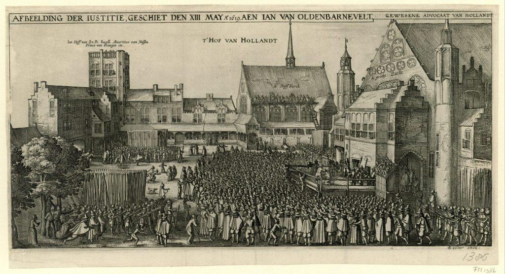 De onthoofding van Johan van Oldenbarnevelt, 1619, Claes Jansz. Visscher (II), 1619