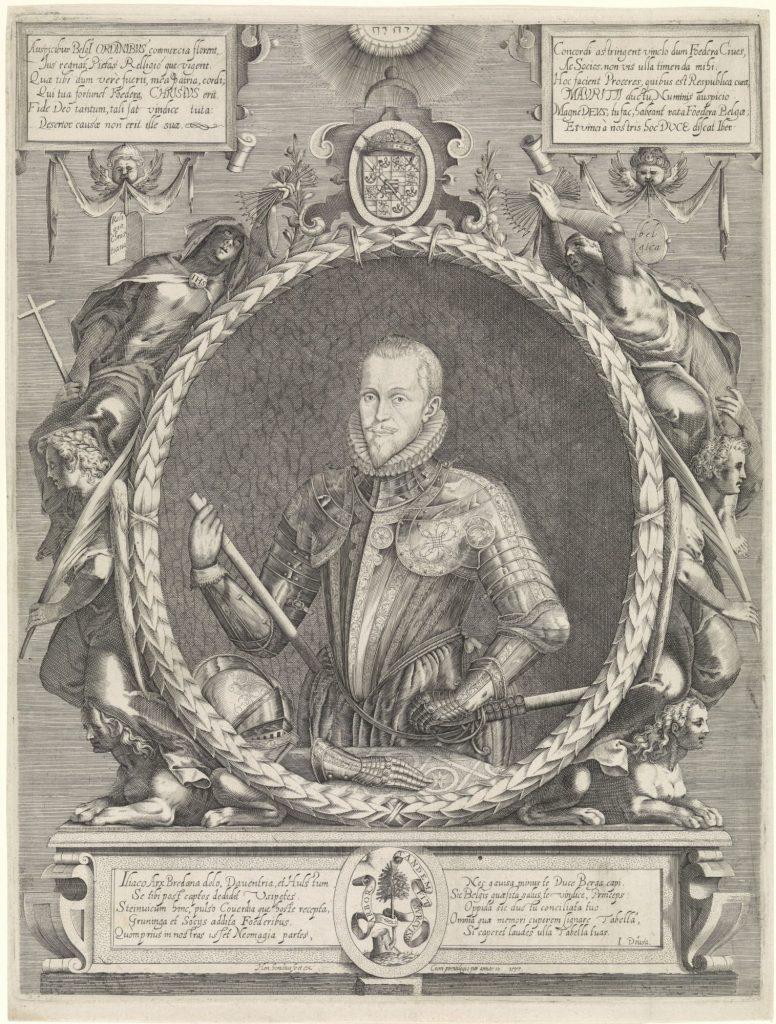 Portret van Maurits, prins van Oranje, Hendrick Hondius (I), 1597