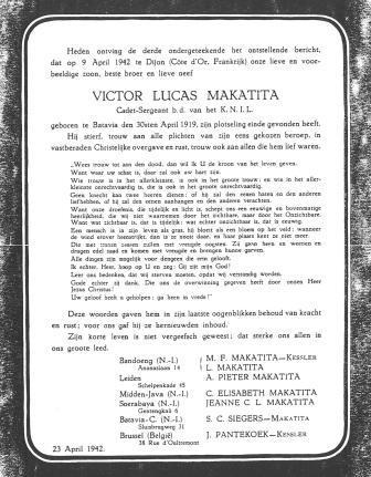 Overlijdensbericht van Victor Maketita - Moluks Hist. Museum coll. Makatita