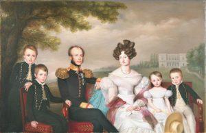 Kroonprins met zijn gezin met het landgoed Tervuren nabij Brussel - Jean-Baptiste van der Hulst ca 1830 - Koninklijke Verzamelingen