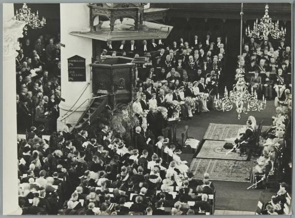 Huwelijk Juliana en Bernhard in de Grote Kerk