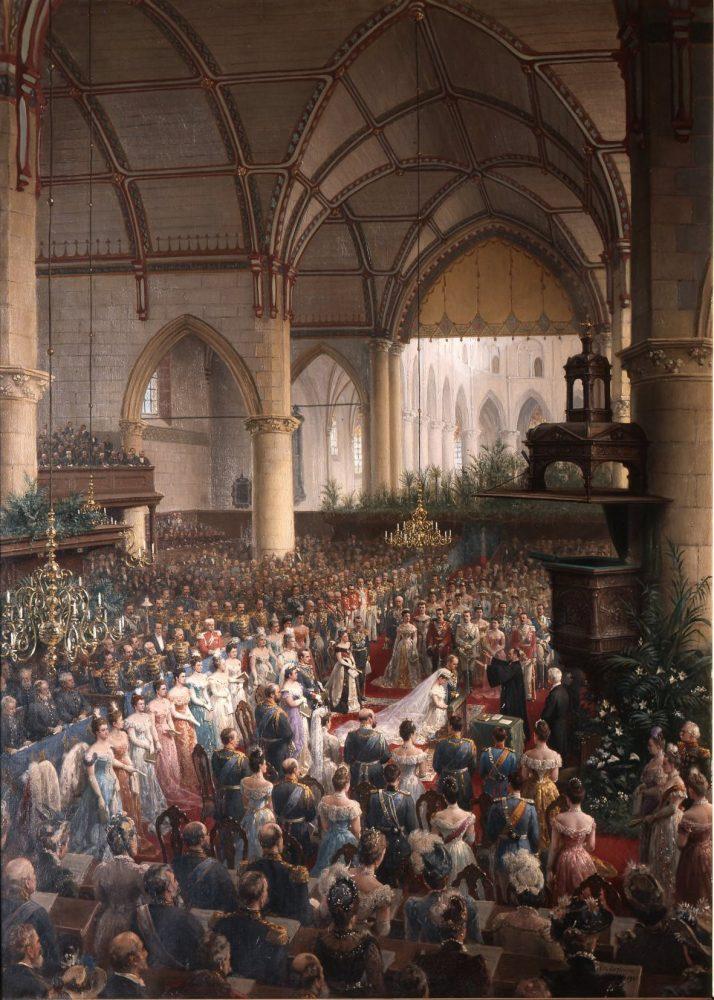 Huwelijk Wilhelmina en Hendrik in de Grote Kerk