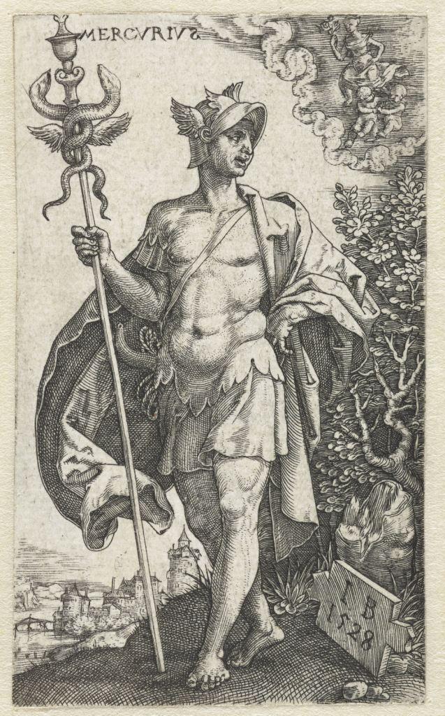 Mercurius, Monogrammist IB (16e eeuw), 1528 - Coll Rijksmuseum