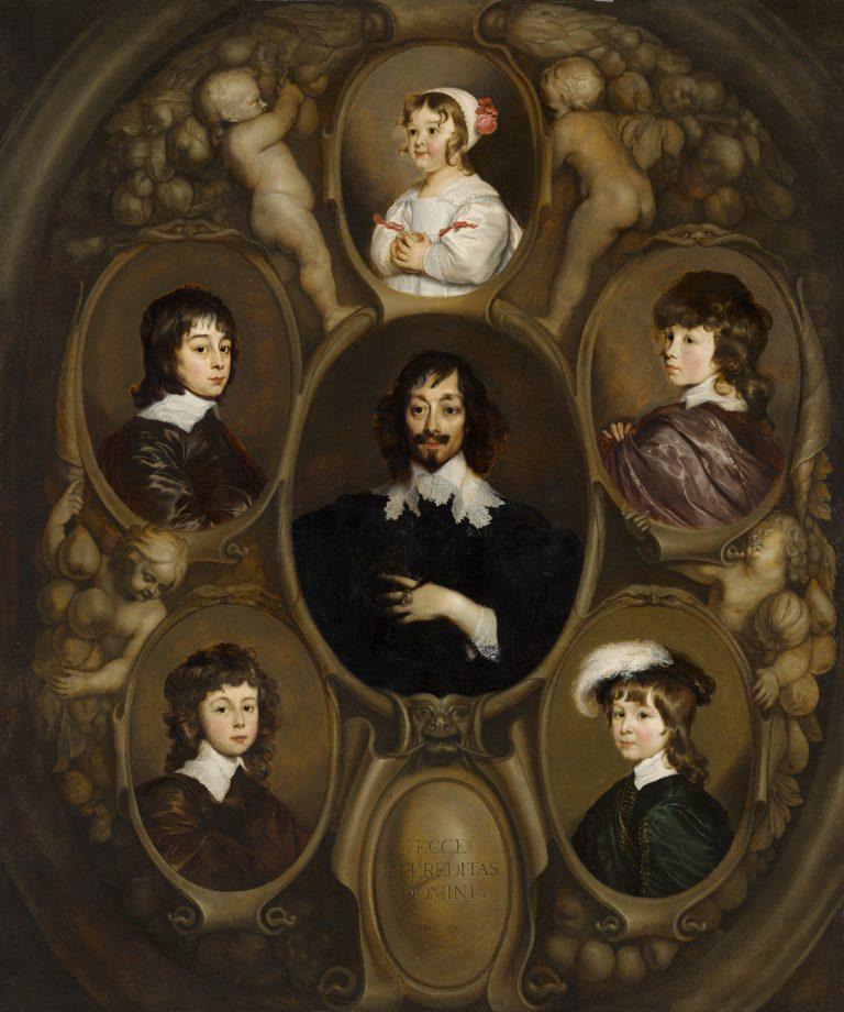 Adriaen Hanneman, Portret van Constantijn Huygens (1596-1687) en zijn vijf kinderen, 1640 - Mauritshuis, Den Haag