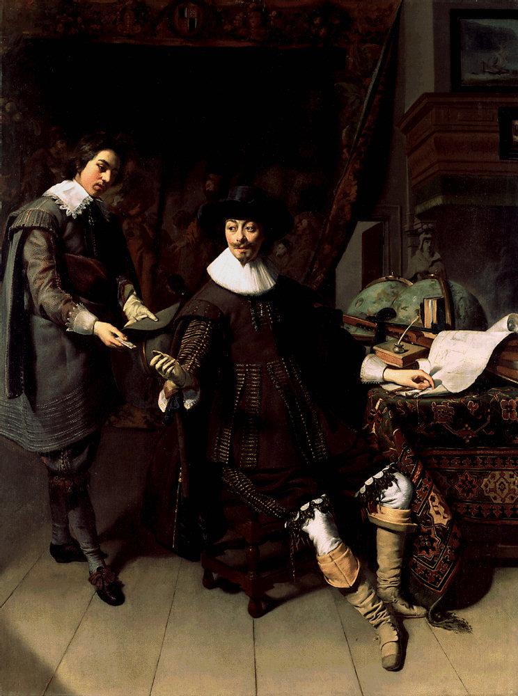 Portret van Constantijn Huygens en zijn secretaris. Luit op de tafel - Thomas de Keyser - Coll National Gallery