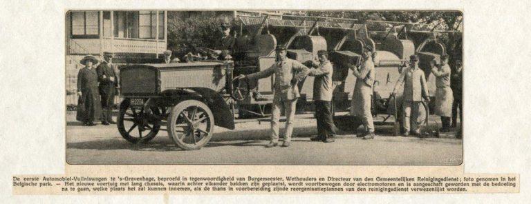 Eerste automobiel-vuilniswagen in Den Haag, in het Belgisch Park - 1912 - Coll HGA