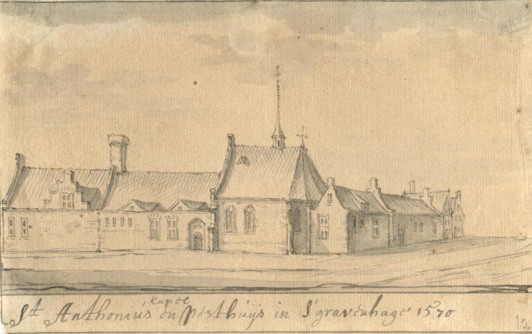 De Antoniuskapel in 1570, vermoedelijk door J. Stellingwerf, Coll HGA