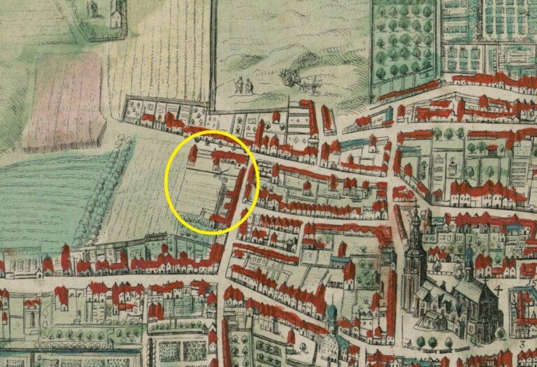 Detailkaart uit 1617 van A. Hierat en A. Hoogenberg, HGA. De waterput achter het Pest- en Dolhuys is goed te zien.